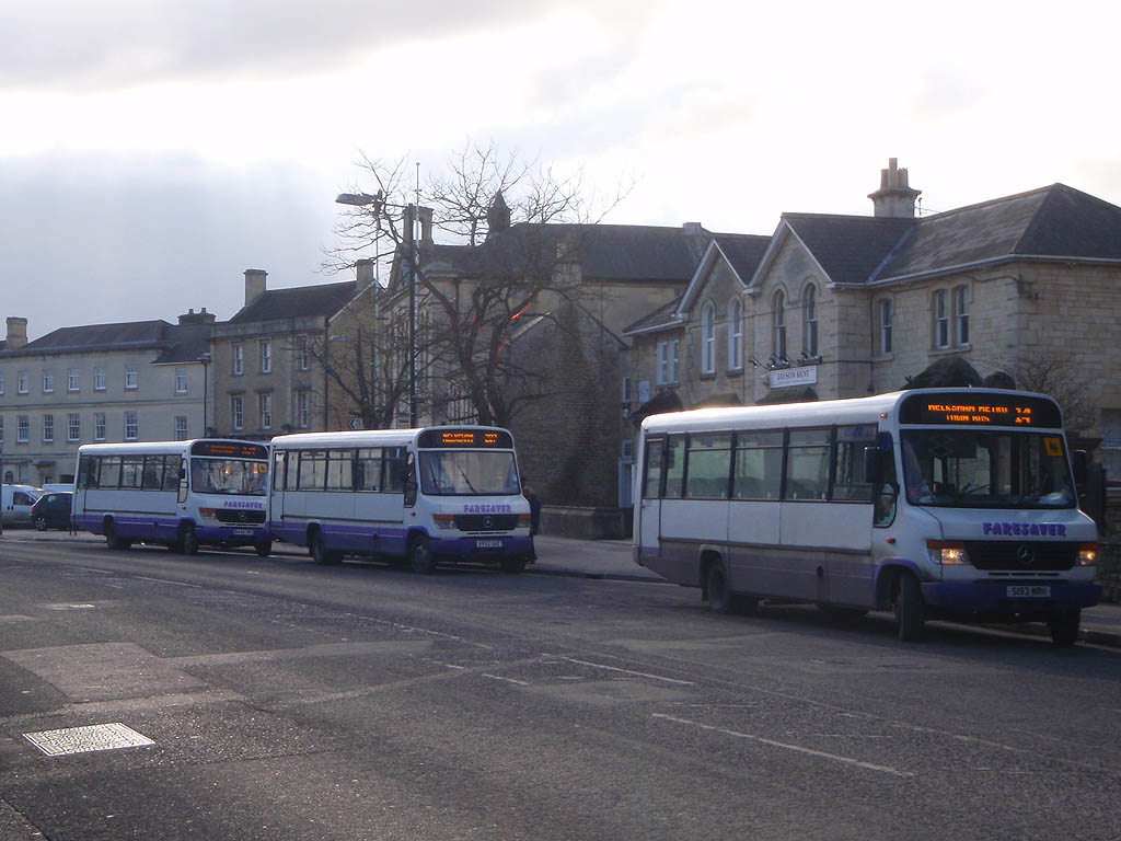 A group of Faresaver buses in Melksham