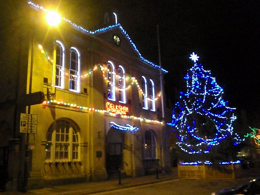 Town Hall with Christmas lights