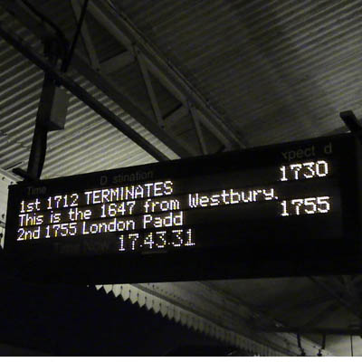 Chippenham next train board