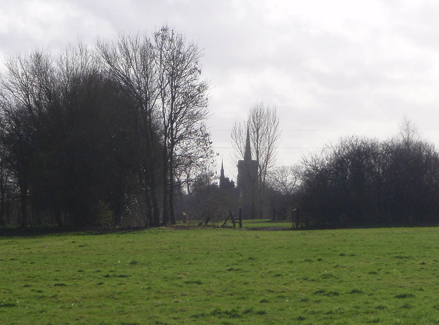 Across the fields to Shaw Church