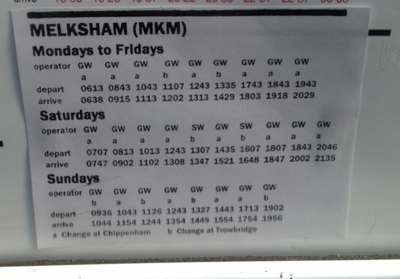 Bath Spa to Melksham train times