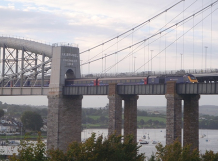 A Train high on the Royal Albert Bridge