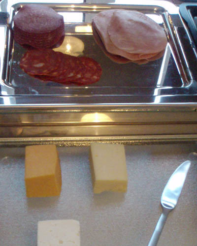 Meets and Cheeses. Note - ice block in tray under meats