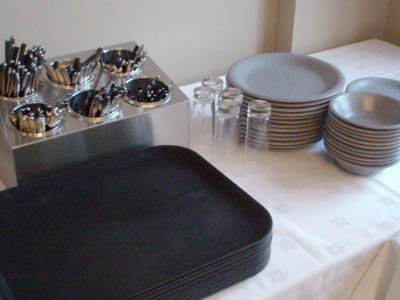 Cutlery, Crockery, trays, glasses