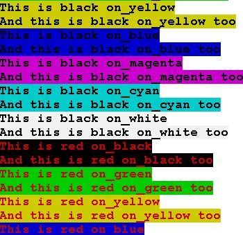 Examples of ANSI coloured text