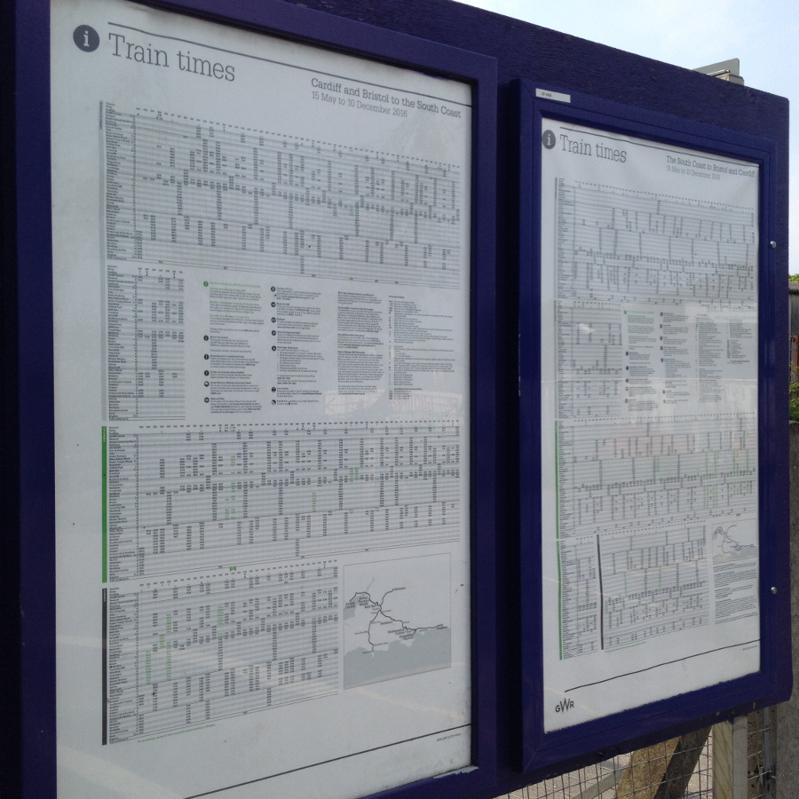 Timetable boards at Melksham