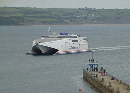 Condor from Channel Islands arrives at Weymouth