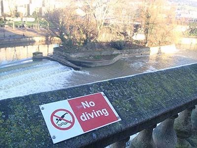 Do not dive into the river