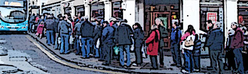 Queue for the Park and Ride bus in Bath