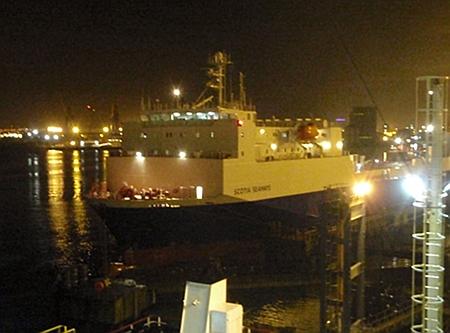 A ferry in Belfast docks