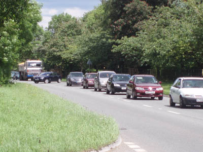 Traffic jams in Beanacre, May 2007