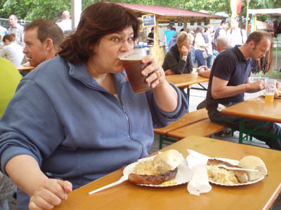 Lisa lunches as the German beer festival in Bristol