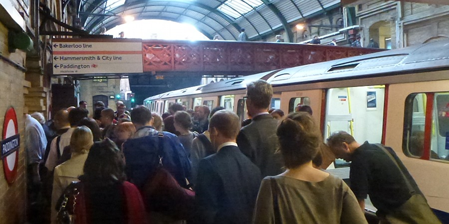 Waiting to get off the Platform at Paddington Underground