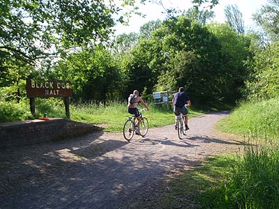 Cycling past Black Dog Halt