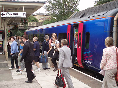 Passengers leave the train at Bradford-on-Avon
