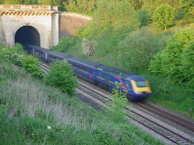 An Intercity 125 emerges from Box Tunnel