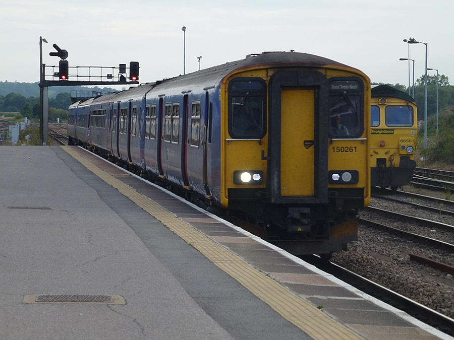Weymouth to Bristol and Swindon train arrives in Westbury