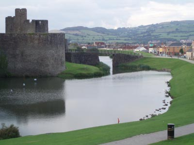 Caerphilly Castle - right in the town