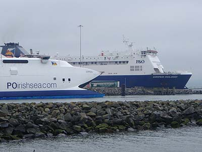 Cairnryan to Larne - P and O fast ferry and ship