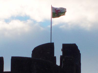 The Welsh flag flies above Caerphilly Castle