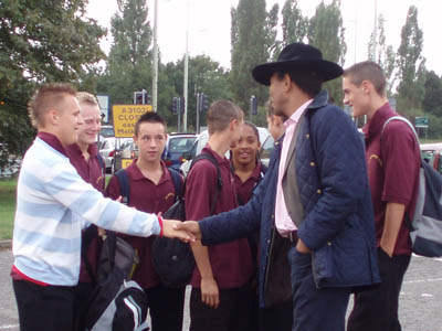 Wilfred Emmanuel-Jones meets students on their way to George Ward school, Melksham, September 2006