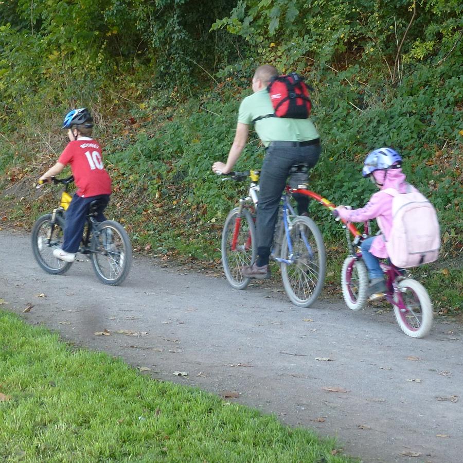 Cycling the railway path
