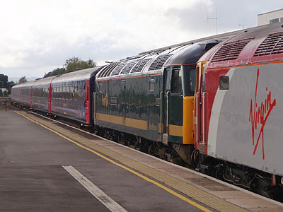 Sleeper train during the day at Taunton