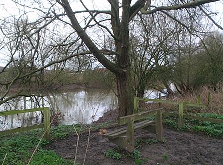 Conigre Mead and river Avon in winter