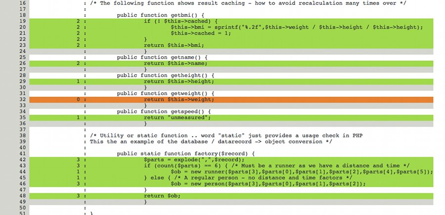 phpunit - code coverage example