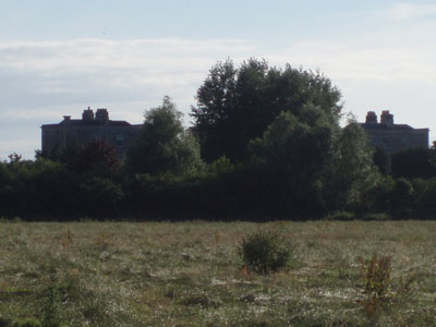 Across the fields to Melksham's Spa Houses