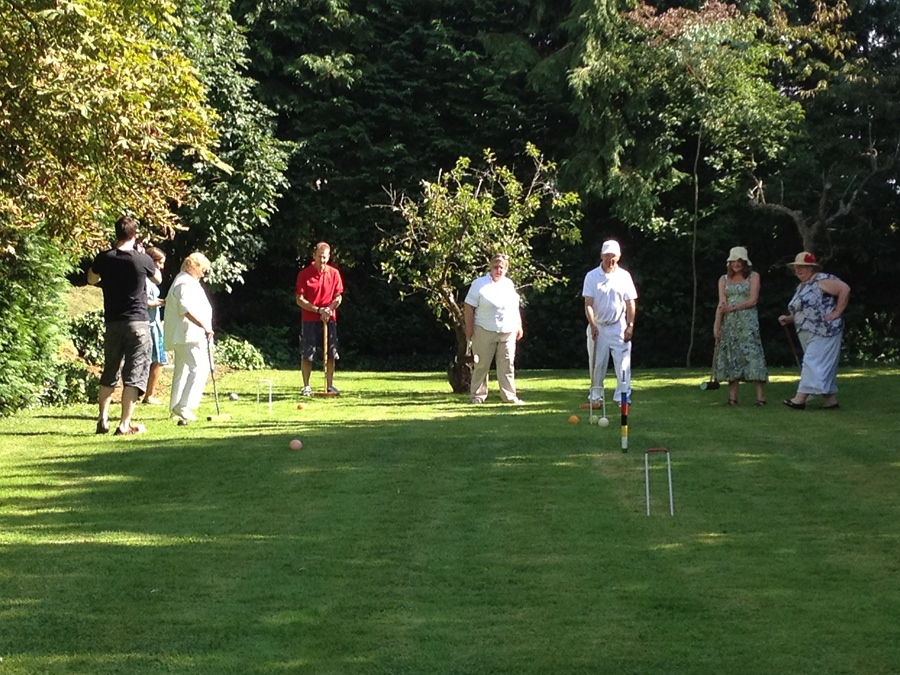 Croquet on the rear lawn at Well House Manor