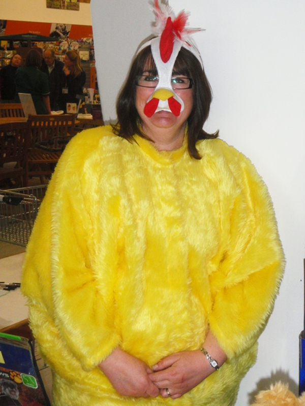 Kathy as a Chicken