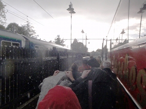 Bustitution - changing from train to bus in a hail storm at a remote and windswept station