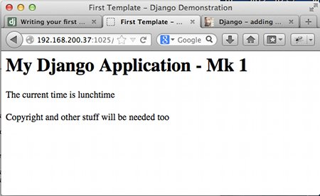 Sample output from a first Django application