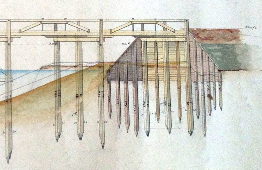 River Avon Viaduct at Staverton - archive drawing