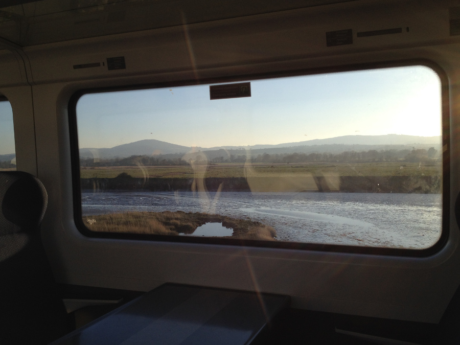 Travelling by train down the Irish coast from Dubin via Gorey and Wexford