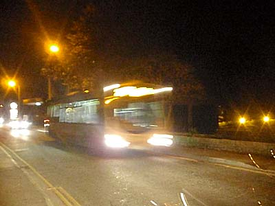 Evening bus at Well House Manor