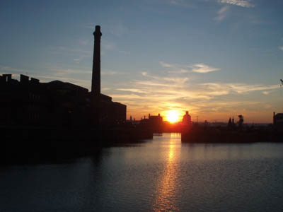 Sunset over Liverpool Docks