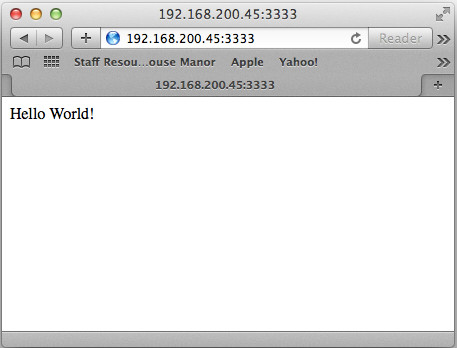 Hello World - sample output