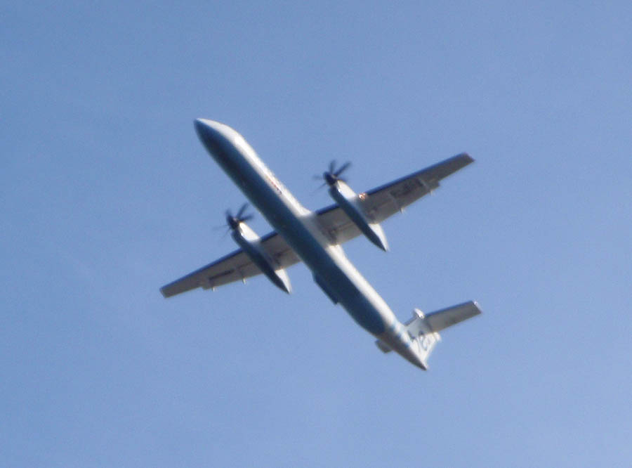A Dash8 leaves Southampton