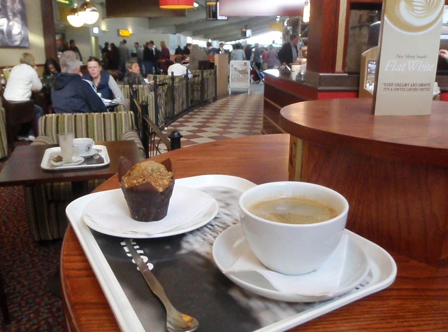 A civilised airport cafe at Southampton