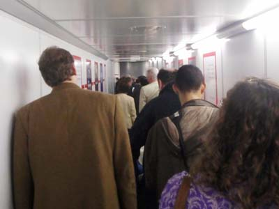 Queueing at Gatwick Airport