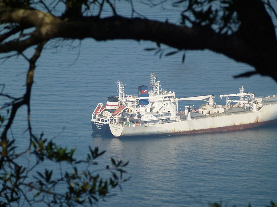 Freighter off Gibraltar