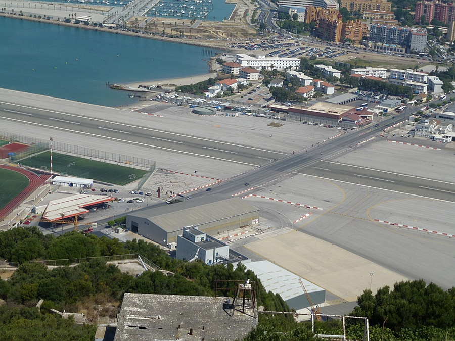 The road crosses the runway - Gibraltar