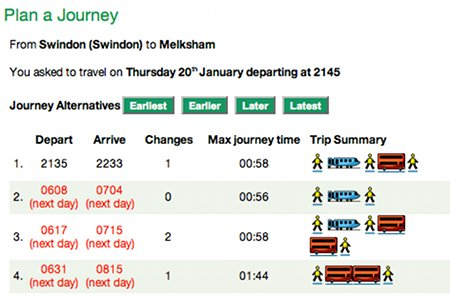 Melksham from Swindon - public transport options