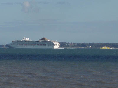 A Liner passes Stokes Bay