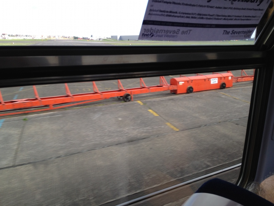 Crossing Filton Airfield taxiway on a train