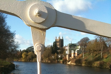 Hereford Cathedral from suspension bridge