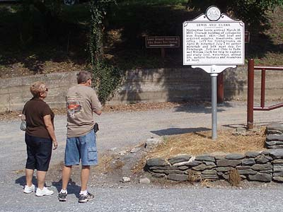Harpers Ferry visitors read about the history