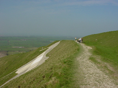 Walkers on top of the Westbury White Horse